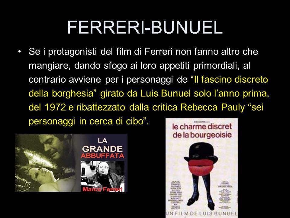 FERRERI-BUNUEL Se i protagonisti del film di Ferreri non fanno altro che mangiare, dando sfogo ai loro appetiti primordiali, al contrario avviene per