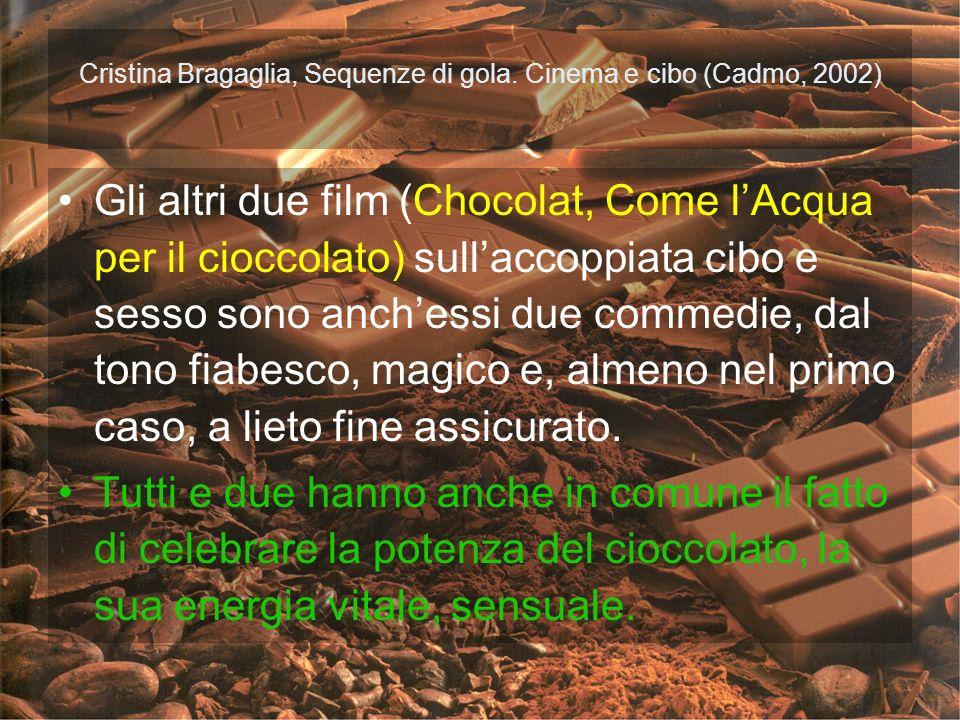 Cristina Bragaglia, Sequenze di gola. Cinema e cibo (Cadmo, 2002) Gli altri due film (Chocolat, Come lAcqua per il cioccolato) sullaccoppiata cibo e s