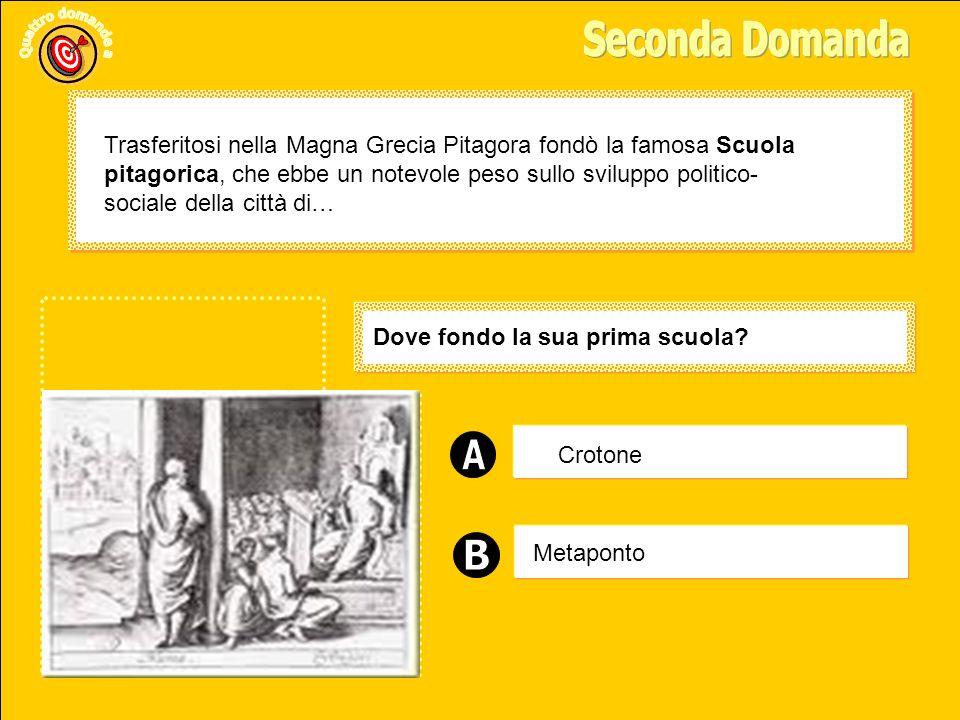Sparta Metaponto Samo Dove nacque Pitagora.Pitagora nacque nel 572 a.C.