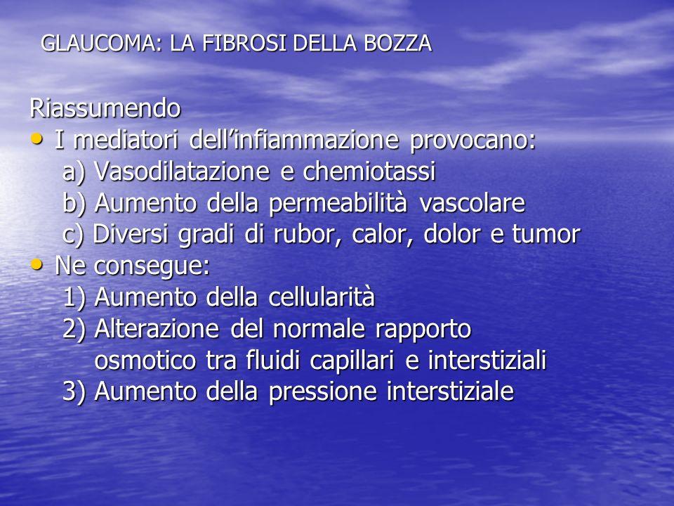 GLAUCOMA: LA FIBROSI DELLA BOZZA Riassumendo I mediatori dellinfiammazione provocano: I mediatori dellinfiammazione provocano: a) Vasodilatazione e ch