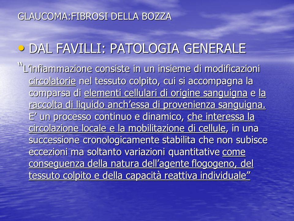 GLAUCOMA:FIBROSI DELLA BOZZA DAL FAVILLI: PATOLOGIA GENERALE DAL FAVILLI: PATOLOGIA GENERALE Linfiammazione consiste in un insieme di modificazioni ci