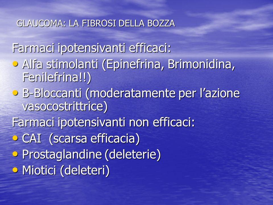 GLAUCOMA: LA FIBROSI DELLA BOZZA Farmaci ipotensivanti efficaci: Alfa stimolanti (Epinefrina, Brimonidina, Fenilefrina!!) Alfa stimolanti (Epinefrina,
