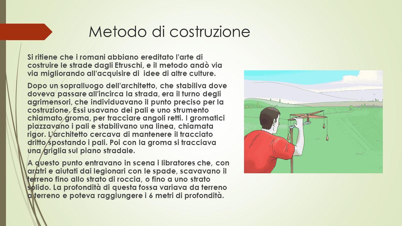 Metodo di costruzione Si ritiene che i romani abbiano ereditato l'arte di costruire le strade dagli Etruschi, e il metodo andò via via migliorando all