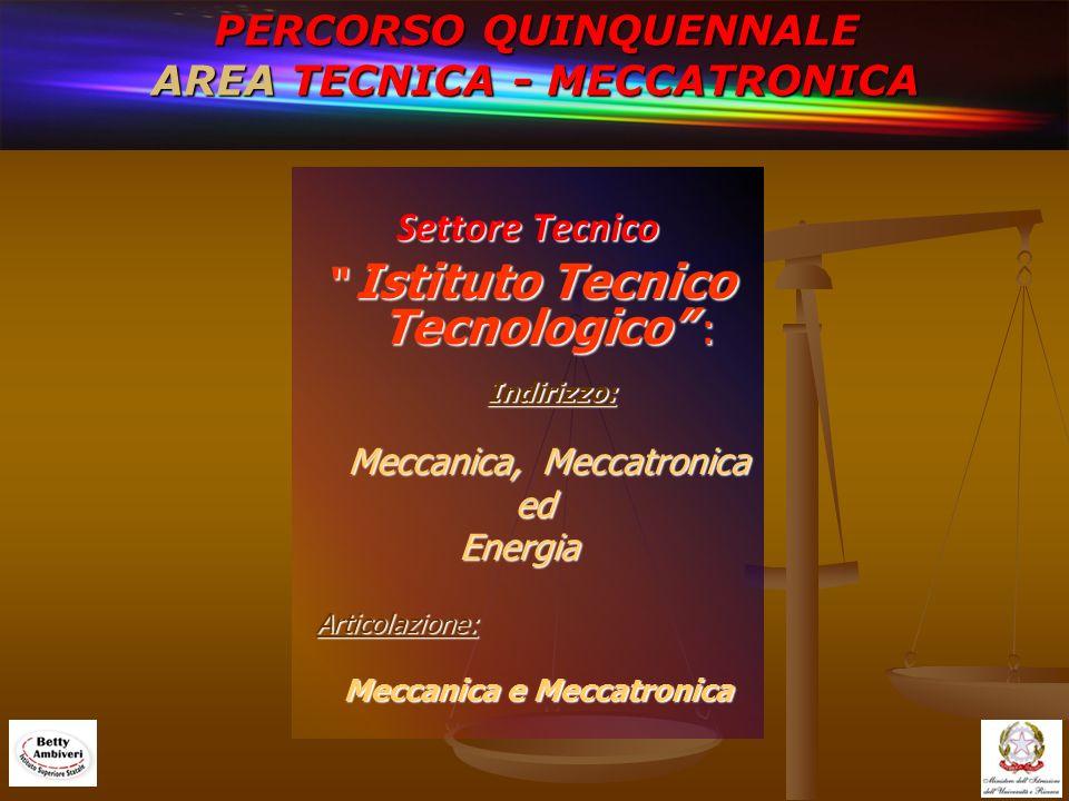 PERCORSO QUINQUENNALE AREA TECNICA - MECCATRONICA Settore Tecnico Istituto Tecnico Tecnologico : Istituto Tecnico Tecnologico : Indirizzo: Indirizzo: