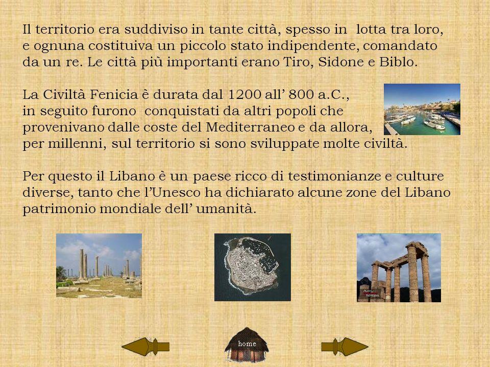 Le città fenicie sorgevano su promontori o isolette vicino alla terra ferma.