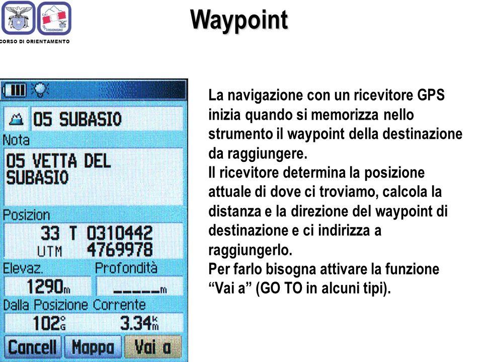 CORSO DI ORIENTAMENTO Waypoint La navigazione con un ricevitore GPS inizia quando si memorizza nello strumento il waypoint della destinazione da raggi