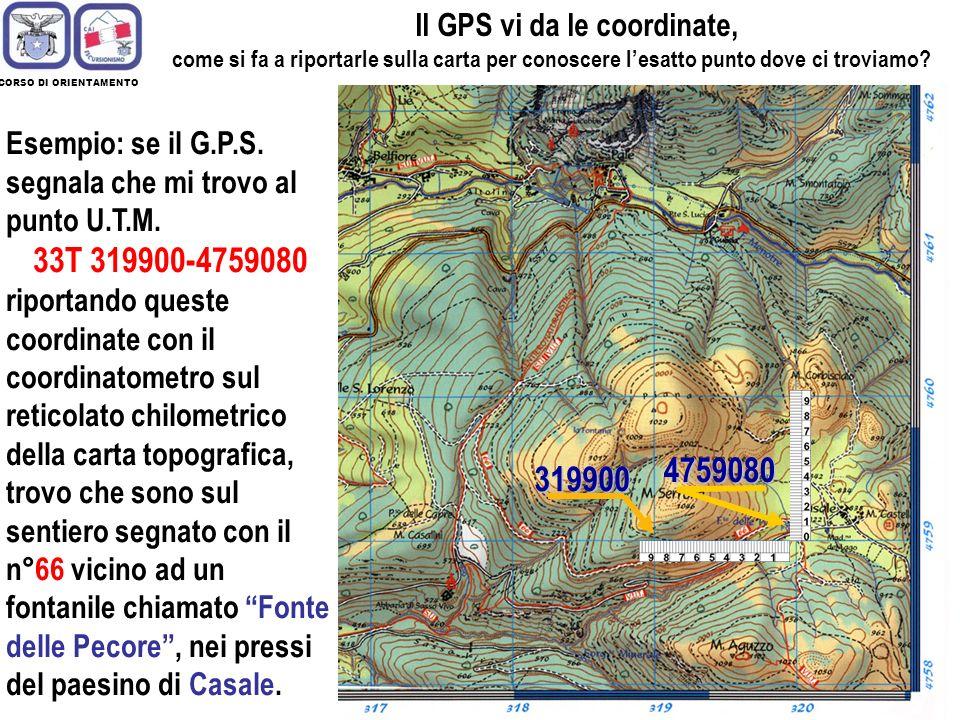 CORSO DI ORIENTAMENTO 319900 4759080 Il GPS vi da le coordinate, come si fa a riportarle sulla carta per conoscere lesatto punto dove ci troviamo? Ese