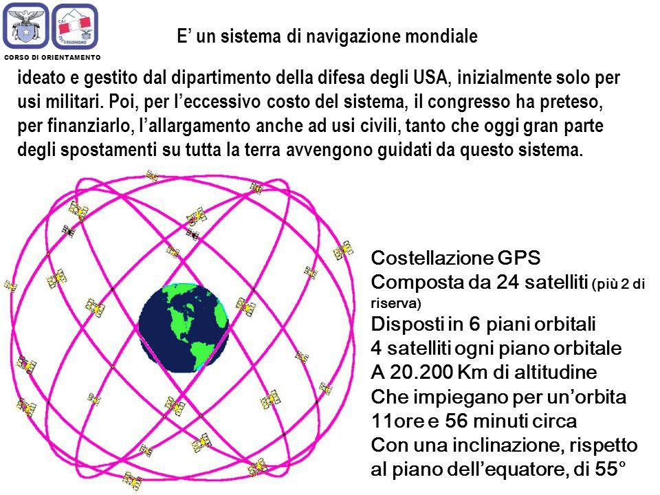 CORSO DI ORIENTAMENTO Costellazione GPS Composta da 24 satelliti (più 2 di riserva ) Disposti in 6 piani orbitali 4 satelliti ogni piano orbitale A 20