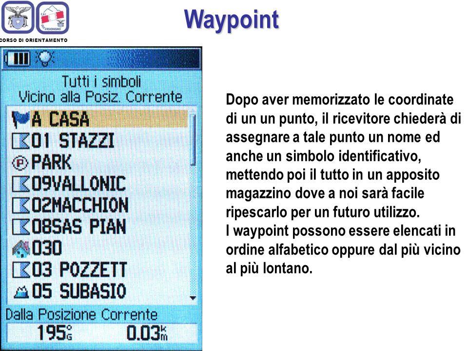 CORSO DI ORIENTAMENTO Waypoint La navigazione con un ricevitore GPS inizia quando si memorizza nello strumento il waypoint della destinazione da raggiungere.