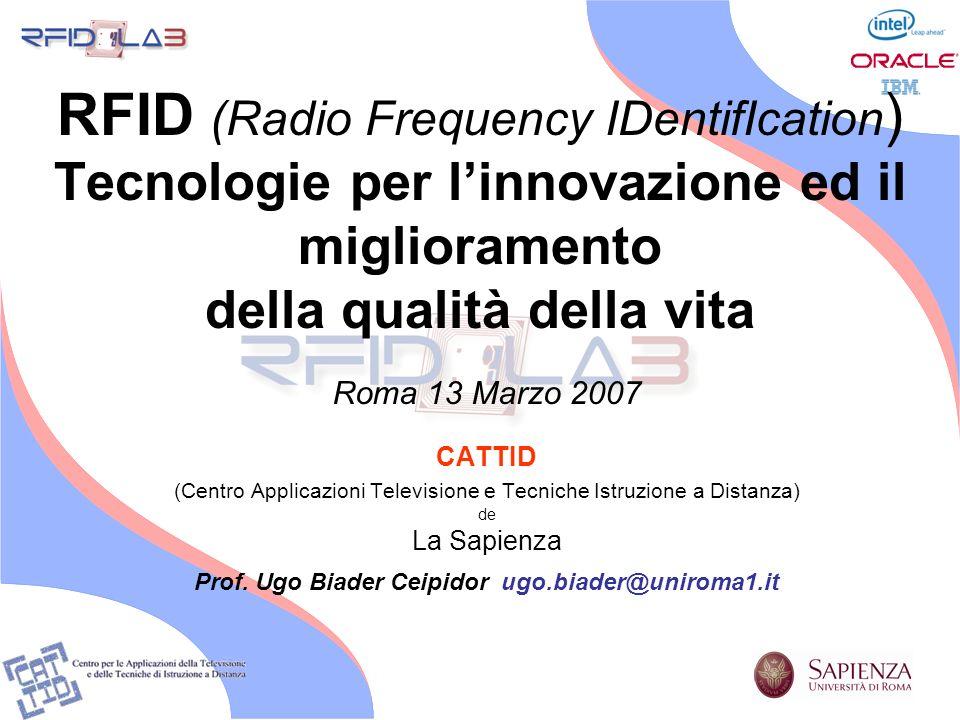 RFID (Radio Frequency IDentifIcation ) Tecnologie per linnovazione ed il miglioramento della qualità della vita Roma 13 Marzo 2007 CATTID (Centro Appl