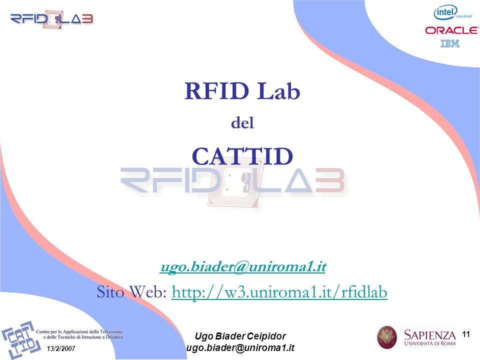 11 13/2/2007 Ugo Biader Ceipidor ugo.biader@uniroma1.it RFID Lab del CATTID ugo.biader@uniroma1.it Sito Web: http://w3.uniroma1.it/rfidlabhttp://w3.un