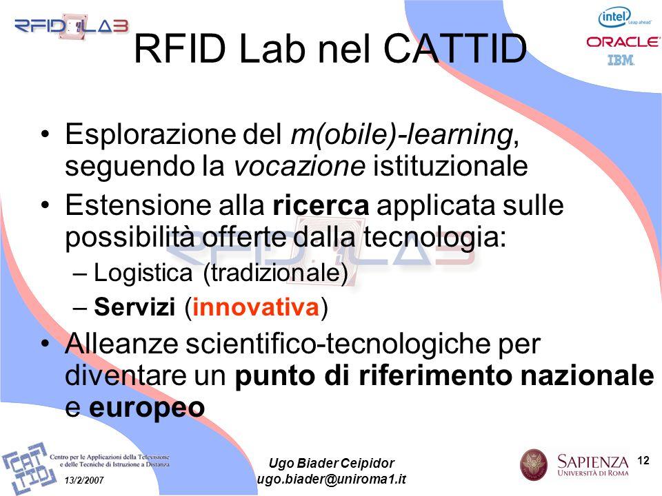 12 13/2/2007 Ugo Biader Ceipidor ugo.biader@uniroma1.it RFID Lab nel CATTID Esplorazione del m(obile)-learning, seguendo la vocazione istituzionale Es