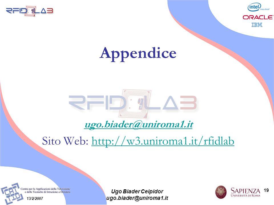 19 13/2/2007 Ugo Biader Ceipidor ugo.biader@uniroma1.it Appendice ugo.biader@uniroma1.it Sito Web: http://w3.uniroma1.it/rfidlabhttp://w3.uniroma1.it/