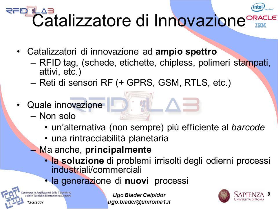 8 13/2/2007 Ugo Biader Ceipidor ugo.biader@uniroma1.it Catalizzatore di Innovazione Catalizzatori di innovazione ad ampio spettro –RFID tag, (schede,
