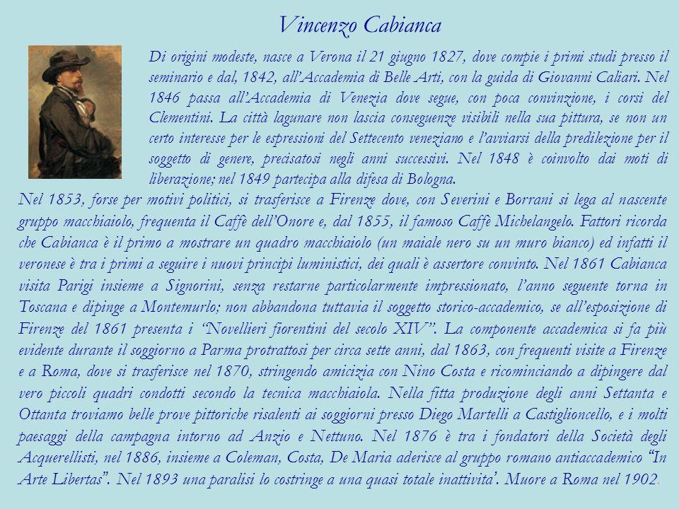 Di origini modeste, nasce a Verona il 21 giugno 1827, dove compie i primi studi presso il seminario e dal, 1842, allAccademia di Belle Arti, con la gu