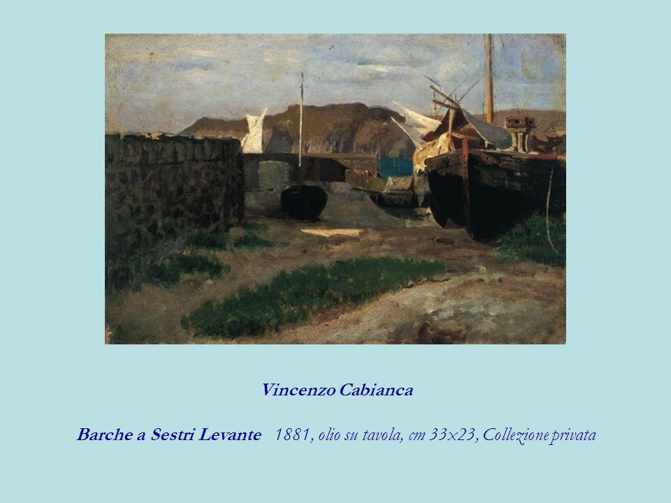 Vincenzo Cabianca Barche a Sestri Levante 1881, olio su tavola, cm 33x23, Collezione privata