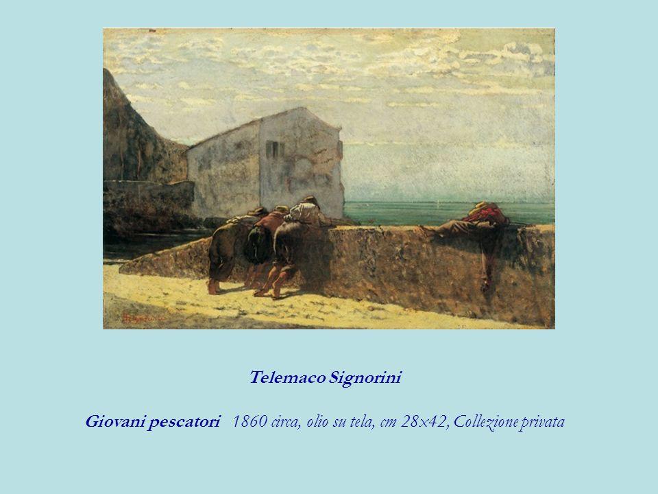 Telemaco Signorini Giovani pescatori 1860 circa, olio su tela, cm 28x42, Collezione privata