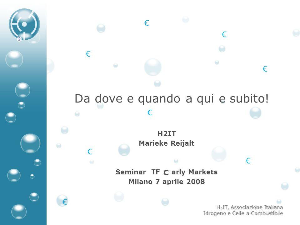 H 2 IT, Associazione Italiana Idrogeno e Celle a Combustibile ! Da dove e quando a qui e subito! H2IT Marieke Reijalt Seminar TF arly Markets Milano 7