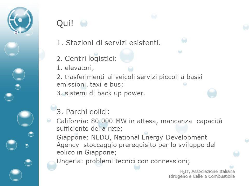 H 2 IT, Associazione Italiana Idrogeno e Celle a Combustibile Qui! 1. Stazioni di servizi esistenti. 2. Centri logistici: 1. elevatori, 2. trasferimen