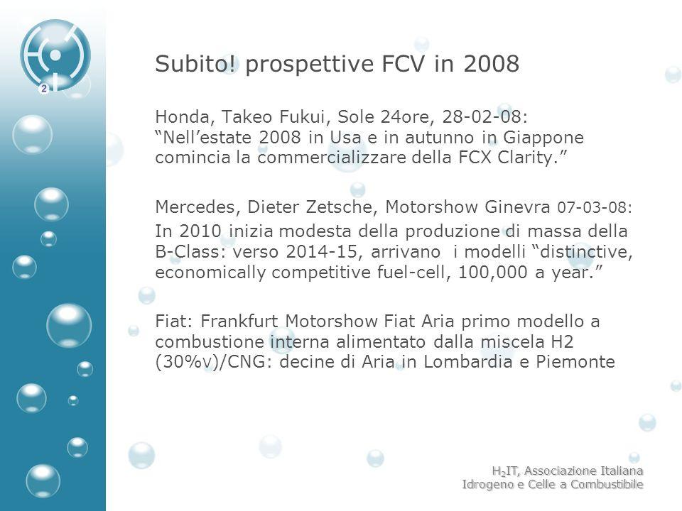 H 2 IT, Associazione Italiana Idrogeno e Celle a Combustibile Subito! prospettive FCV in 2008 Honda, Takeo Fukui, Sole 24ore, 28-02-08: Nellestate 200
