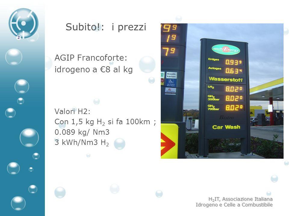 H 2 IT, Associazione Italiana Idrogeno e Celle a Combustibile Subito!: i prezzi AGIP Francoforte: idrogeno a 8 al kg Valori H2: Con 1,5 kg H 2 si fa 1