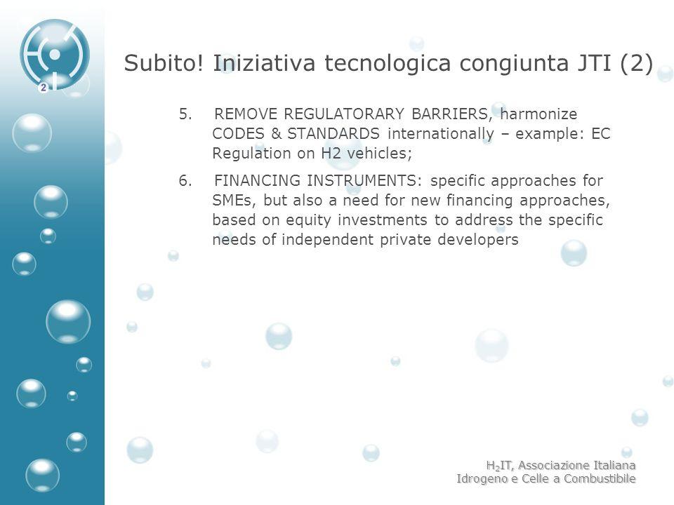 H 2 IT, Associazione Italiana Idrogeno e Celle a Combustibile Subito! Iniziativa tecnologica congiunta JTI (2) 5. REMOVE REGULATORARY BARRIERS, harmon