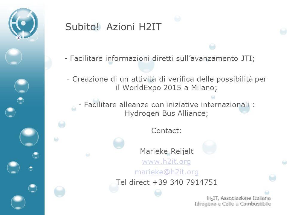 H 2 IT, Associazione Italiana Idrogeno e Celle a Combustibile Subito! Azioni H2IT - - Facilitare informazioni diretti sullavanzamento JTI; - - Creazio
