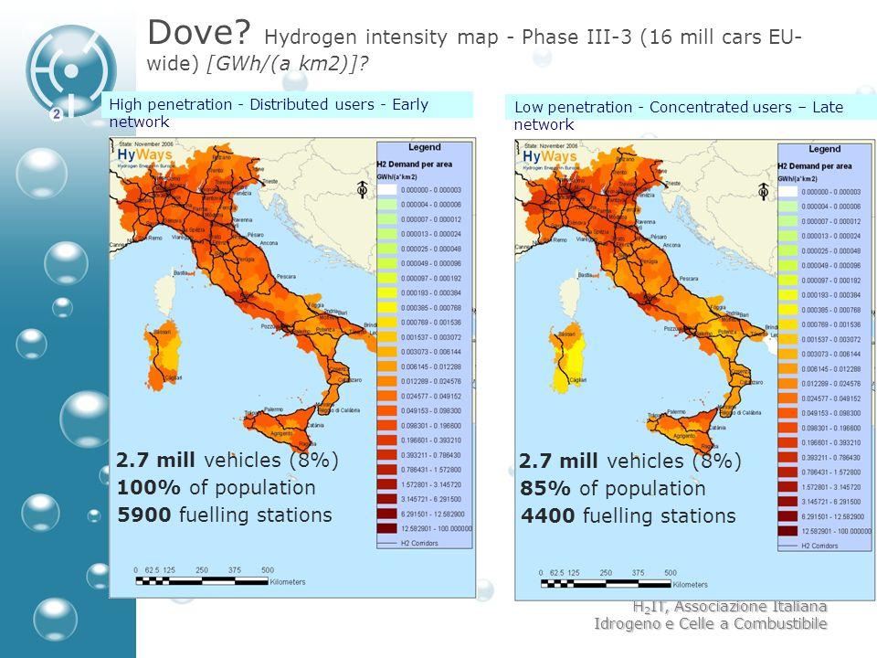 H 2 IT, Associazione Italiana Idrogeno e Celle a Combustibile Dove? Hydrogen intensity map - Phase III-3 (16 mill cars EU- wide) [GWh/(a km2)]? High p