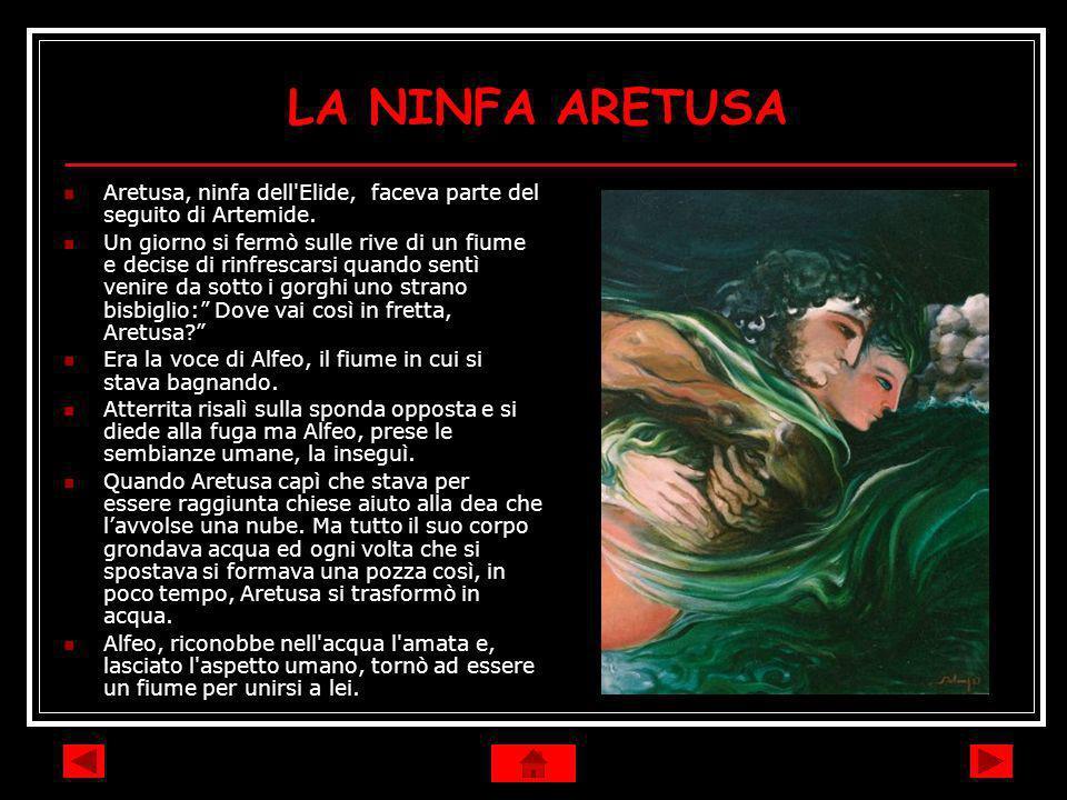 LA NINFA ARETUSA Aretusa, ninfa dell'Elide, faceva parte del seguito di Artemide. Un giorno si fermò sulle rive di un fiume e decise di rinfrescarsi q