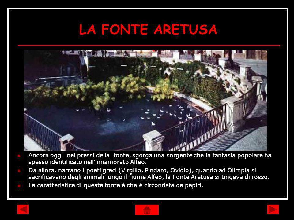 LA FONTE ARETUSA Ancora oggi nei pressi della fonte, sgorga una sorgente che la fantasia popolare ha spesso identificato nell'innamorato Alfeo. Da all