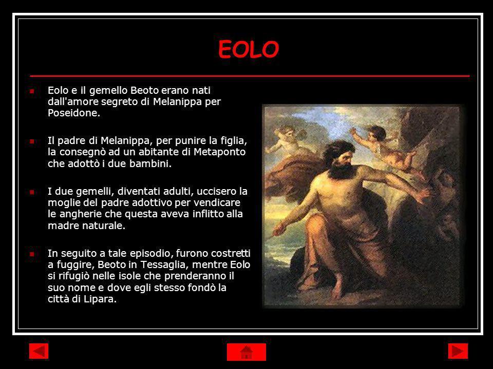 EOLO Eolo e il gemello Beoto erano nati dall'amore segreto di Melanippa per Poseidone. Il padre di Melanippa, per punire la figlia, la consegnò ad un