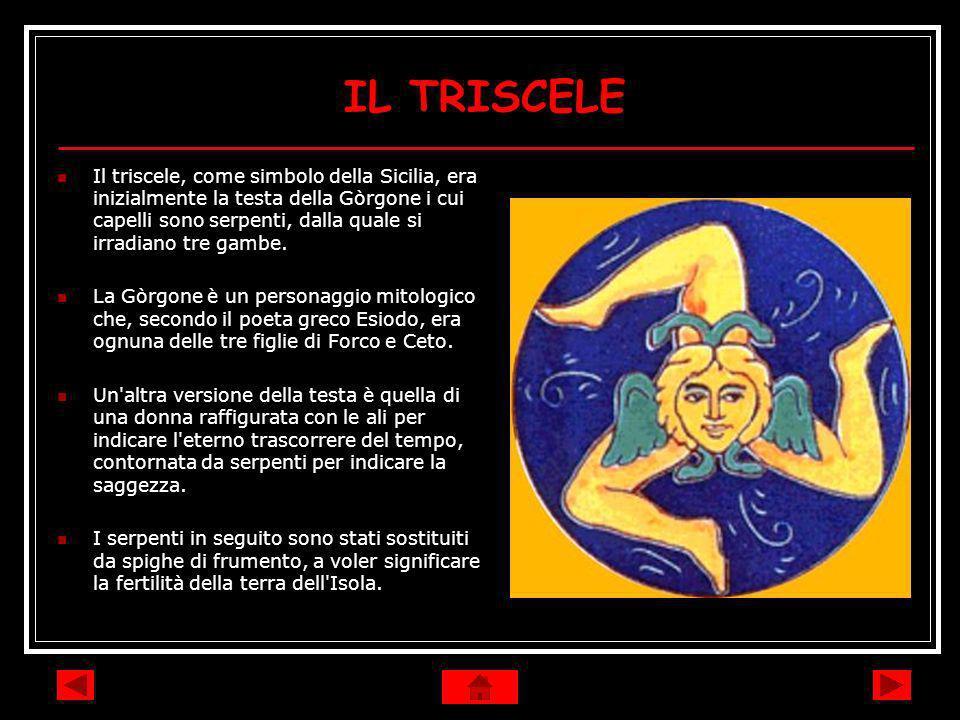 IL TRISCELE Il triscele, come simbolo della Sicilia, era inizialmente la testa della Gòrgone i cui capelli sono serpenti, dalla quale si irradiano tre