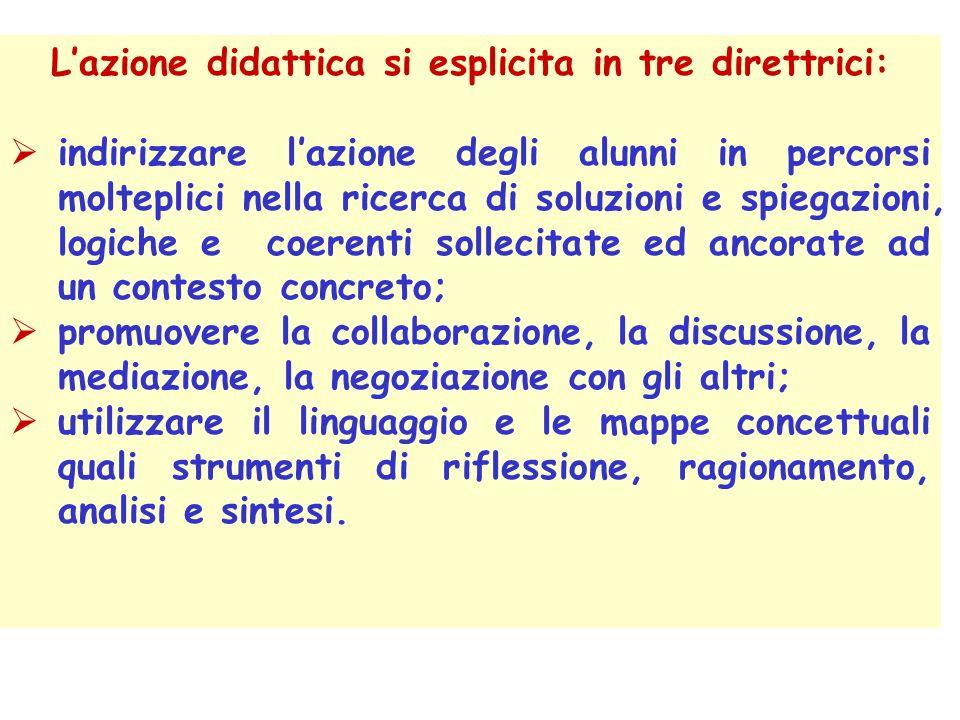 Lazione didattica si esplicita in tre direttrici: indirizzare lazione degli alunni in percorsi molteplici nella ricerca di soluzioni e spiegazioni, lo