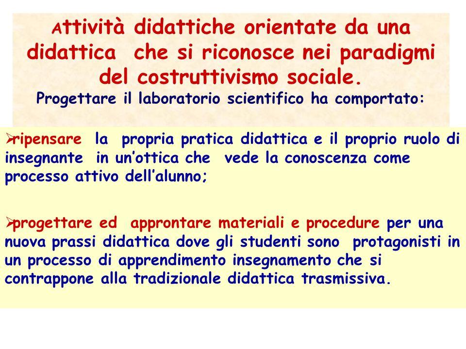 A ttività didattiche orientate da una didattica che si riconosce nei paradigmi del costruttivismo sociale. Progettare il laboratorio scientifico ha co