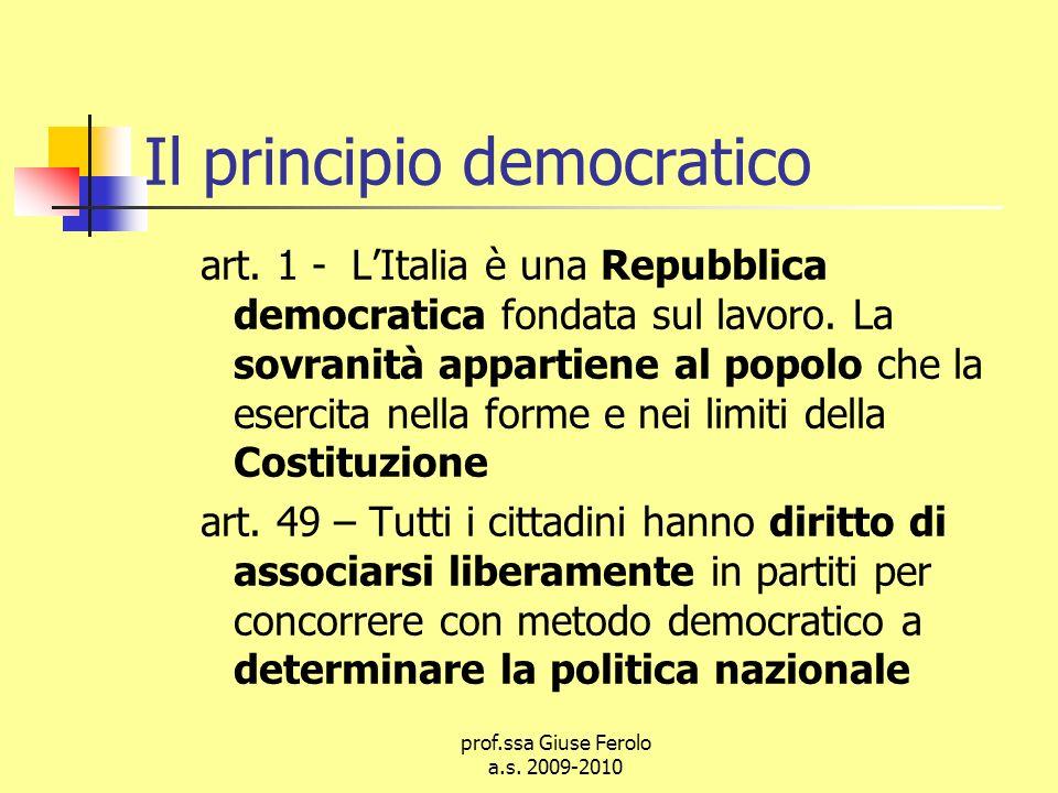 prof.ssa Giuse Ferolo a.s.2009-2010 Il principio democratico art.