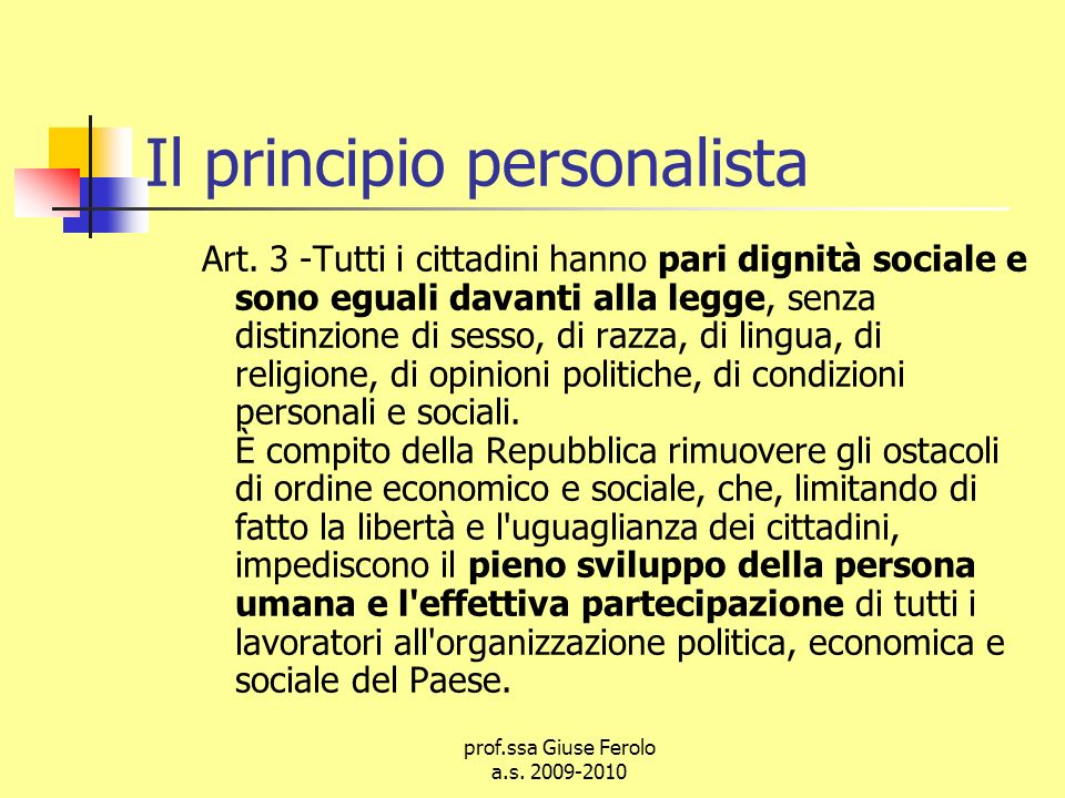 prof.ssa Giuse Ferolo a.s.2009-2010 Il principio personalista Art.