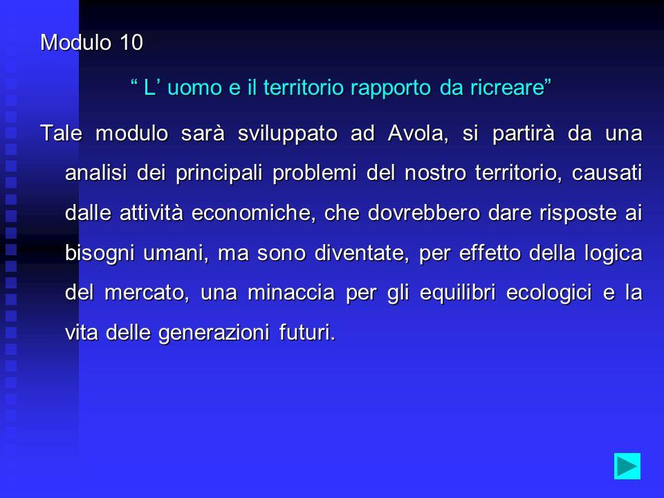 Modulo 6 Luomo e lacqua un binomio che ha fatto la civiltà Tale modulo sarà sviluppato ad Avola, partendo da una analisi degli aspetti geomorfologici