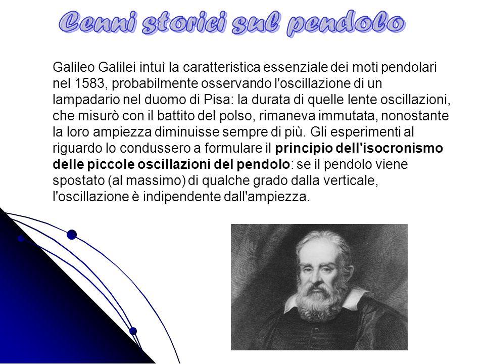 Galileo Galilei intuì la caratteristica essenziale dei moti pendolari nel 1583, probabilmente osservando l'oscillazione di un lampadario nel duomo di