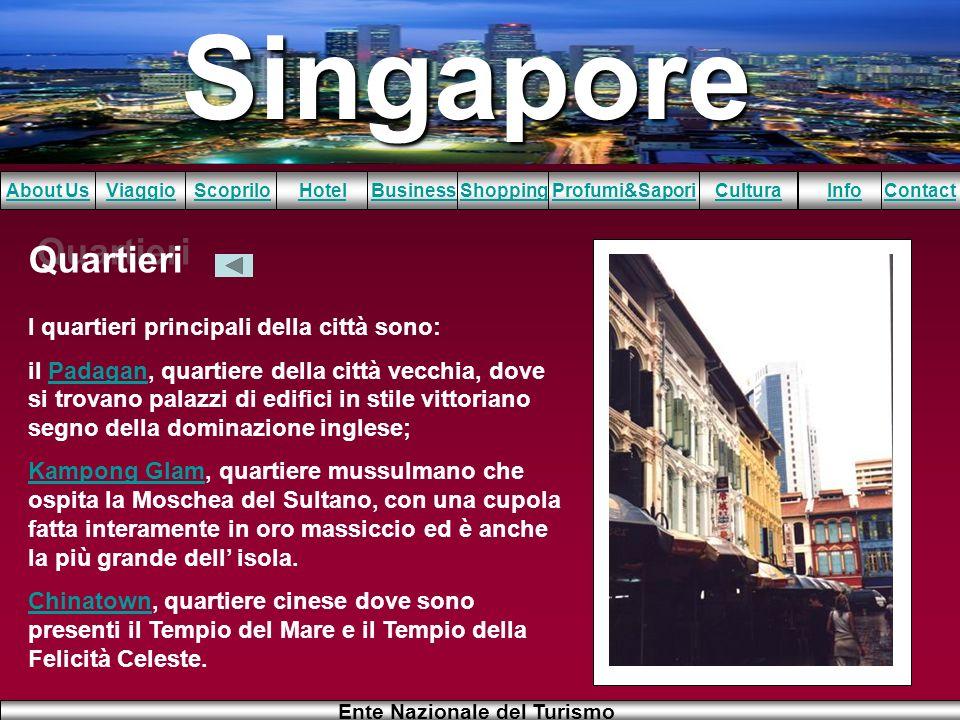 Singapore About UsViaggioScopriloHotelBusinessShoppingInfoProfumi&SaporiCulturaContact Ente Nazionale del Turismo Quartieri I quartieri principali del