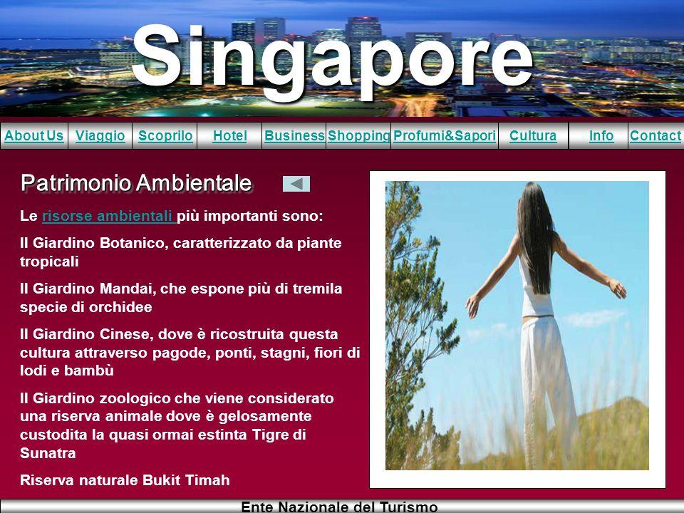 Singapore About UsViaggioScopriloHotelBusinessShoppingInfoProfumi&SaporiCulturaContact Ente Nazionale del Turismo Patrimonio Ambientale Le risorse amb