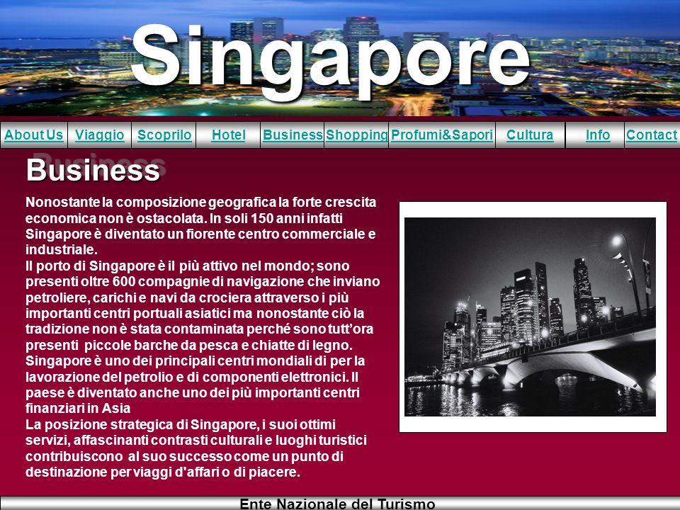 Singapore About UsViaggioScopriloHotelBusinessShoppingInfoProfumi&SaporiCulturaContact Ente Nazionale del Turismo BusinessBusiness Nonostante la compo