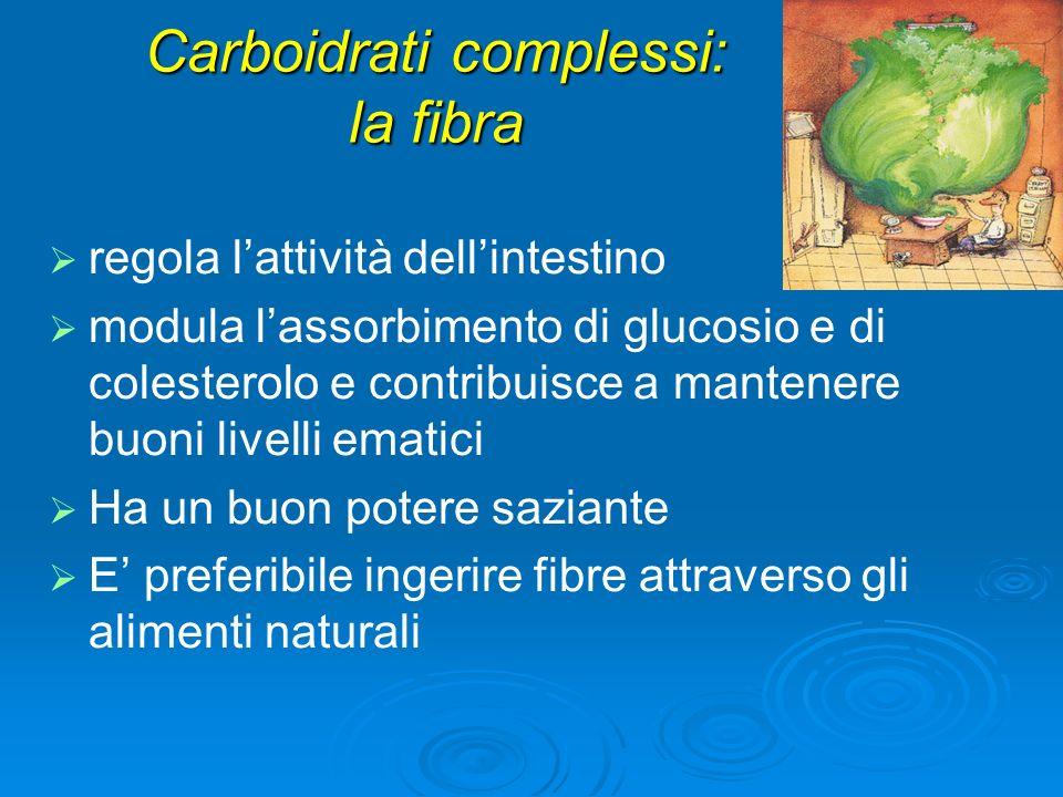 Carboidrati complessi: la fibra regola lattività dellintestino modula lassorbimento di glucosio e di colesterolo e contribuisce a mantenere buoni livelli ematici Ha un buon potere saziante E preferibile ingerire fibre attraverso gli alimenti naturali