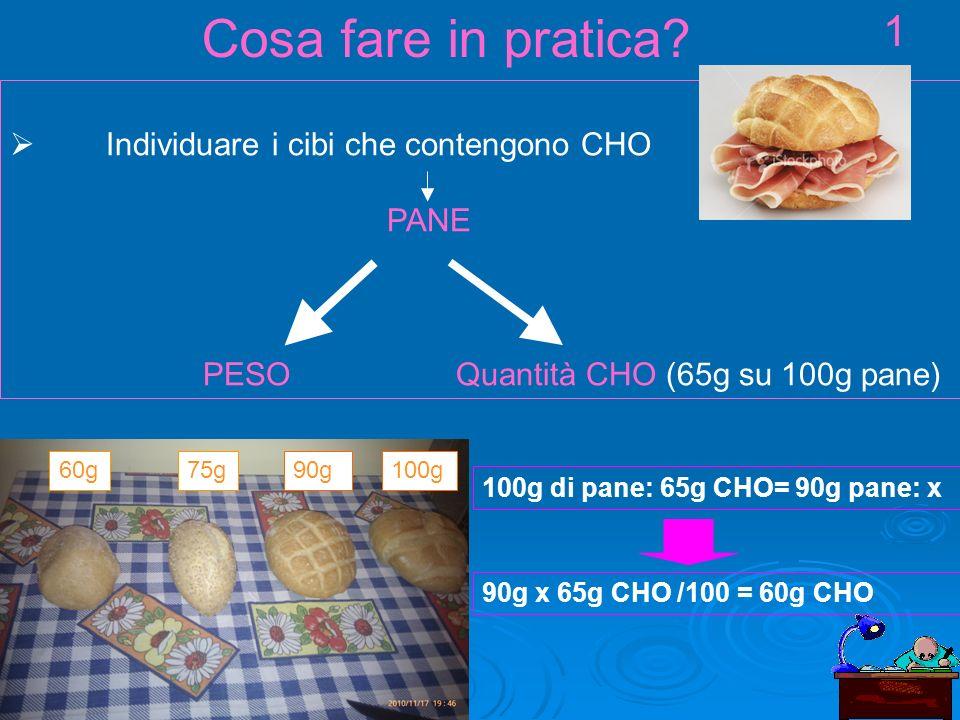 Individuare i cibi che contengono CHO PANE PESO Quantità CHO (65g su 100g pane) Cosa fare in pratica.