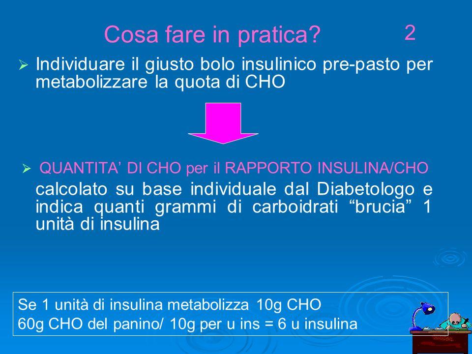 Individuare il giusto bolo insulinico pre-pasto per metabolizzare la quota di CHO QUANTITA DI CHO per il RAPPORTO INSULINA/CHO calcolato su base individuale dal Diabetologo e indica quanti grammi di carboidrati brucia 1 unità di insulina Cosa fare in pratica.