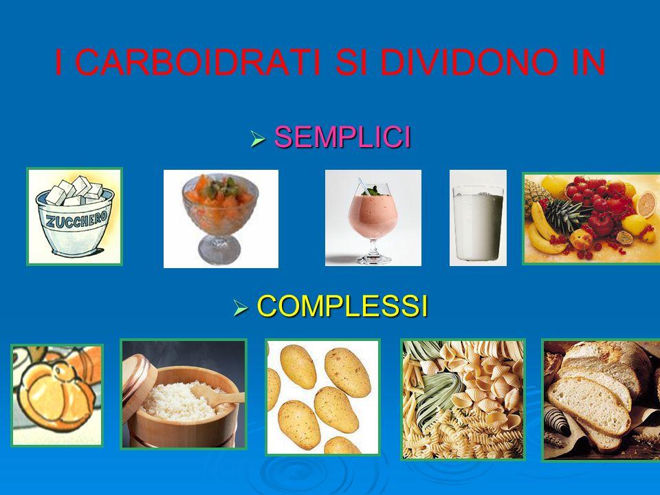 Carboidrati semplici (10-15%) zuccheri Hanno gusto dolce e sono velocemente assimilati dallorganismo.