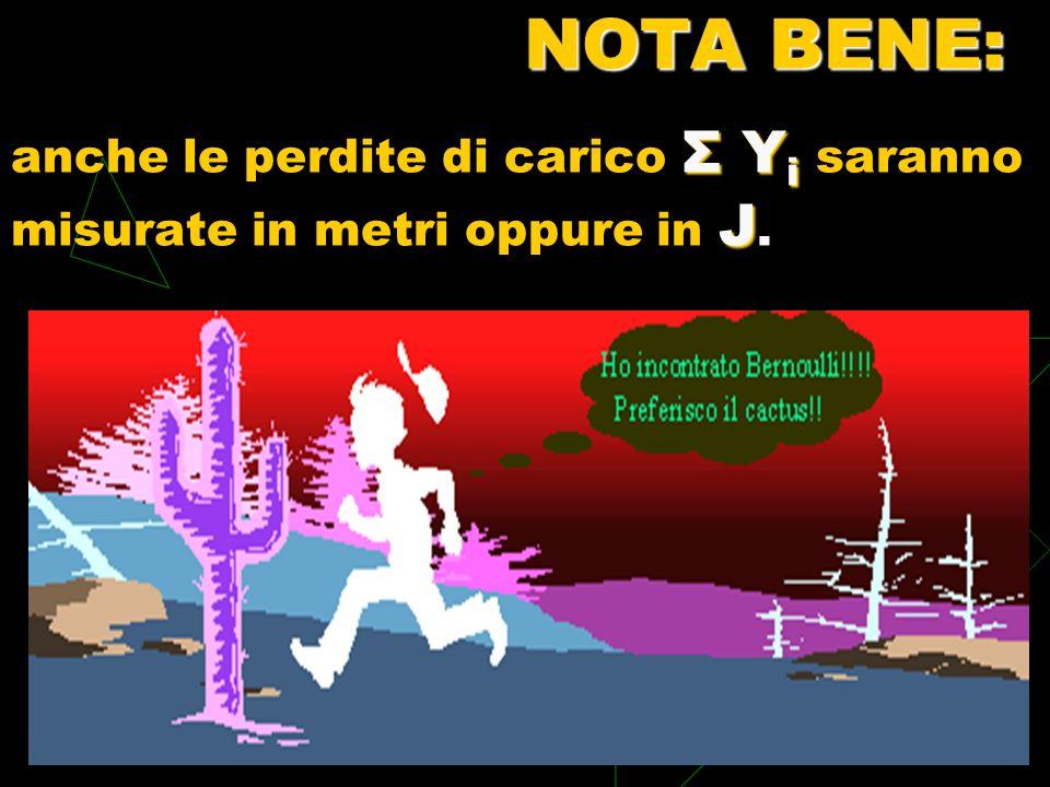 NOTA BENE: Σ Y i J NOTA BENE: anche le perdite di carico Σ Y i saranno misurate in metri oppure in J.