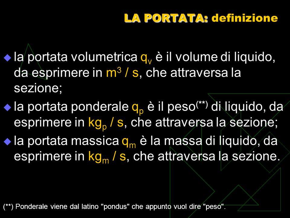LA PORTATA: LA PORTATA: definizione la portata volumetrica q v è il volume di liquido, da esprimere in m 3 / s, che attraversa la sezione; la portata