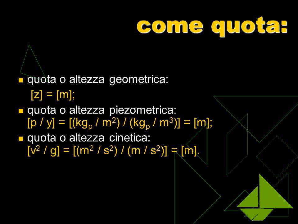 come quota: quota o altezza geometrica: [z] = [m]; quota o altezza piezometrica: [p / y] = [(kg p / m 2 ) / (kg p / m 3 )] = [m]; quota o altezza cine