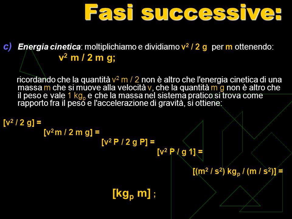 Fasi successive: c) Energia cinetica: moltiplichiamo e dividiamo v 2 / 2 g per m ottenendo: v 2 m / 2 m g; ricordando che la quantità v 2 m / 2 non è