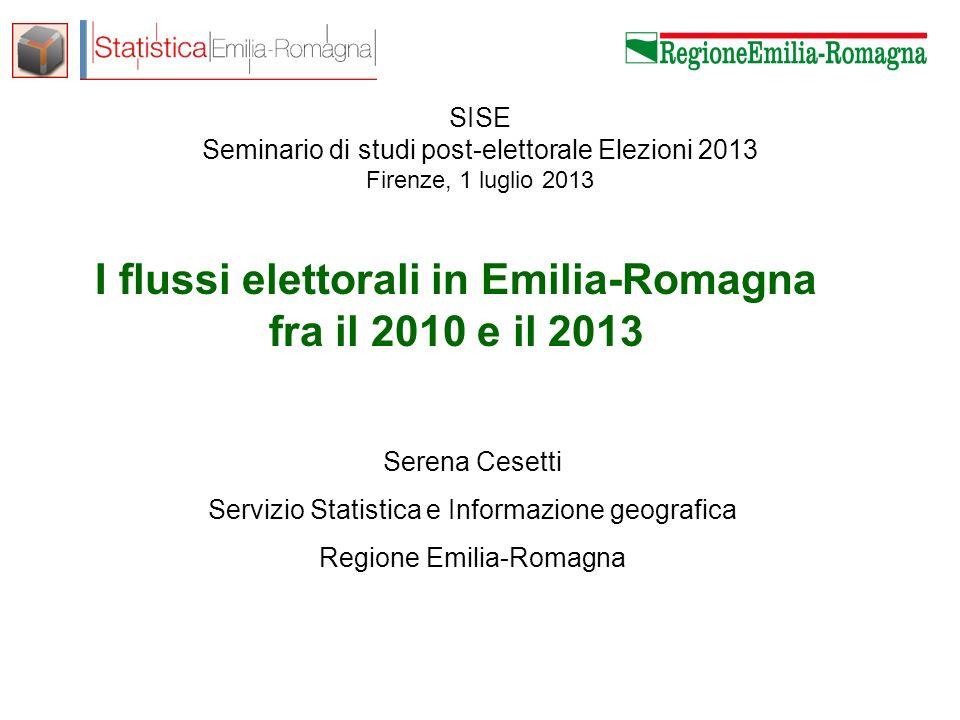 Serena Cesetti – Servizio Statistica e Informazione geografica Come è cambiata lEmilia-Romagna fra il 2010 e il 2013 Flussi di voto 2010-2013 per i comuni capoluogo di Provincia Voto disgiunto Camera-Senato Come hanno votato i giovani.